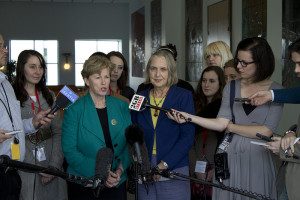 Senators Christine Milne and Lee Rhiannon - Photo from the launch of the Greens bill to increase overseas aid in Canberra on 7 May 2013, Courtesy of the Australian Greens.