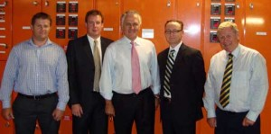 From left to right: Mark Sanders (Leighton Contractors), Nathan Anderson (Leighton Properties) Hon. Malcolm Turnbull MP, Andrew Aitken (GBCA State Manager Qld/NT), Leigh Ashman (Leighton Properties) - Photo Courtesy of Green Building Council Australia -- 29 Jan 2009