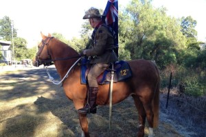Ready to march: The ABC's David Evans and his mare Sarah getting ready for ANZAC Day.  Courtesy of Lisa Herbert and ABC Rural