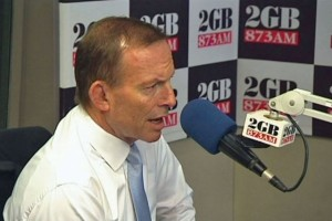 Prime Minister Abbott being interviewed by 2GB's Ray Hadley.  Photo courtesy of ABC News.