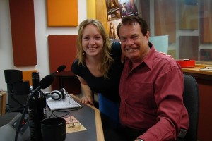 ABC New England North West Breakfast presenter Anna Moulder and bush balladeer Graham Rodger. | Photographer: | Kim Honan 21/02/2009 ABC Rural
