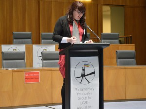 Speaking in Parliament House - Photo: Kate Doak