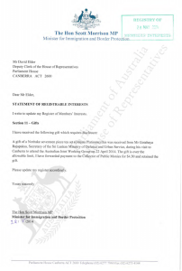 Pecuniary Interests Statement - Minister Scott Morrison - 28/5/2014